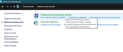 Check the Internet Connection - Click on network and sharing center