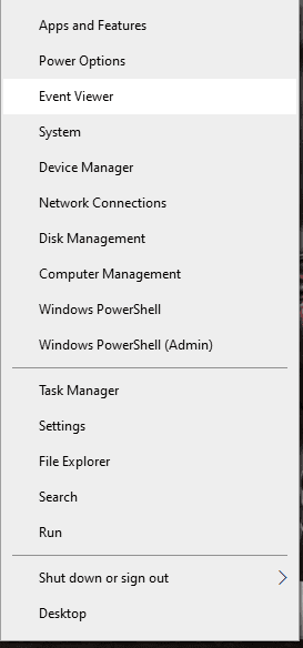 right-click on the Start button and click on Event Viewer
