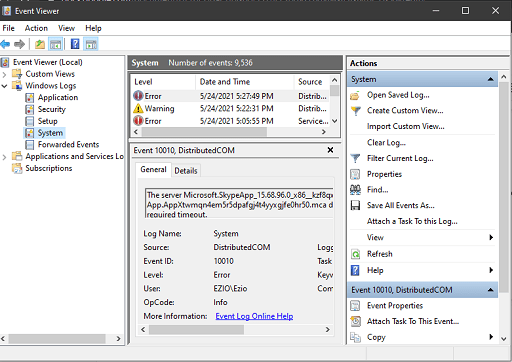 double-click on Windows Logs and then right-click on System