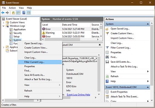 click on Filter Current log