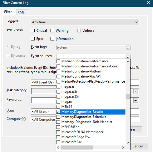 In the Event Sources menu, look for MemoryDiagnostics-Results and click on it