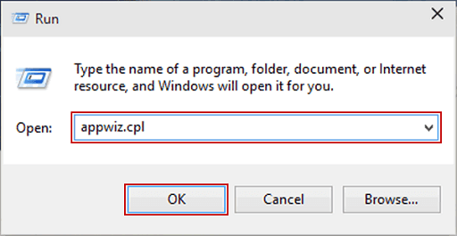 Type appwiz.cpl and click on OK in the Run Box