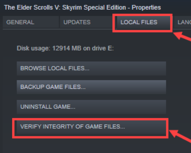 Click on the LOCAL FILES tab and then choose VERIFY INTEGRITY OF GAME FILES