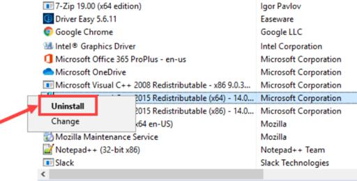 Uninstall x64 and x86 Visual Studio C++ 2015 Redistributable