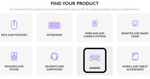 Scroll down the official Support website of Logitech, and click on Gaming