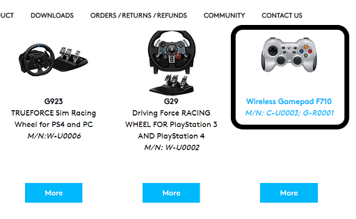 extensive list of controllers and gamepads, find the Logitech Gamepad F710 and click on it