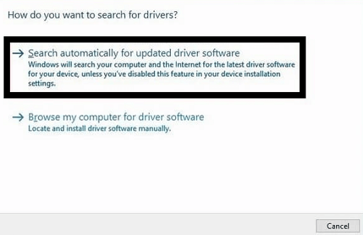 click on Search Automatically for Updated Driver Software to update Logitech Gamepad F710 Driver