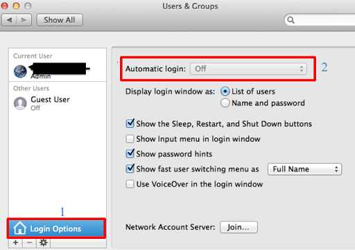 Select Login Options and turn off the Automatic Login