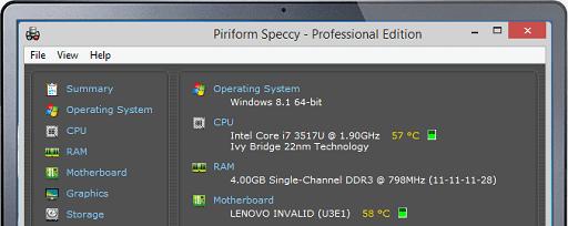 Speecy- Windows 10 temperature monitor