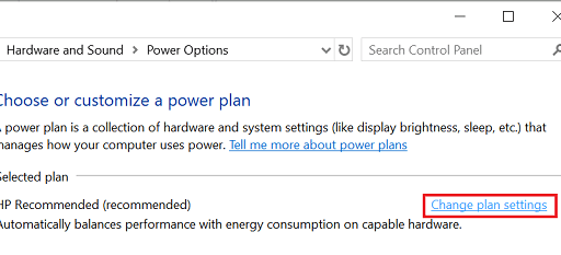 Click on the Change plan settings