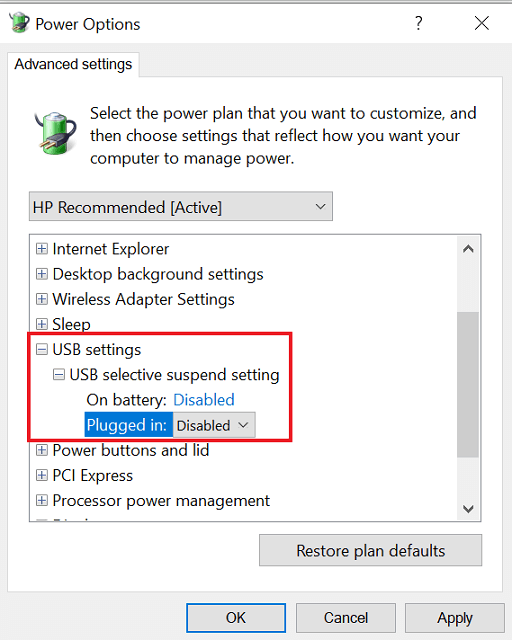USB selective suspend setting and select the Disabled option