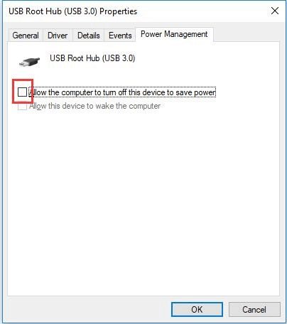 Uncheck Allow the computer to turn off this device to save power