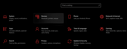 in the setting click on devices