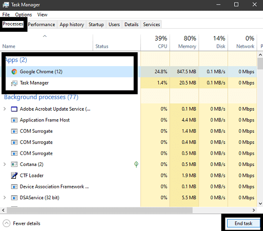 Click on the End Process button at the end of the window to close the program