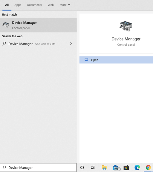 Check the Driver in Device Manager- open device manager