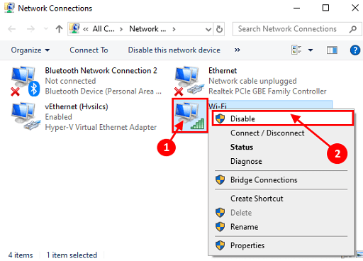 Network Connections appear, right-click on your wireless network adapter and choose Disable from the context menu