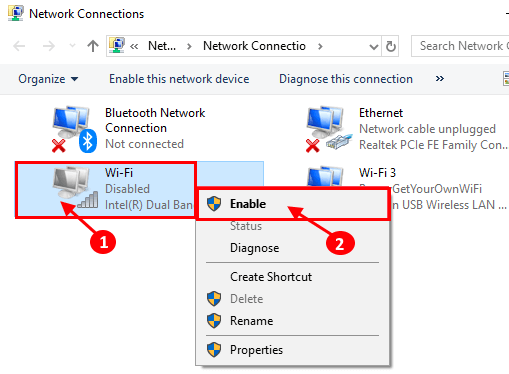 right-click on the network adapter you disabled in the previous step and choose Enable from the popup menu