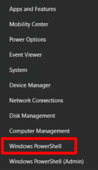 From the on-screen menu, select PowerShell