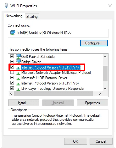 Go to the Networking tab and double-click on Internet Protocol Version 4 (TCP IPv4)