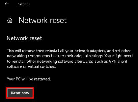 Perform network reset