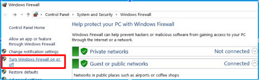Turn Windows Defender Firewall on or off from the left panel of the Windows Firewall screen