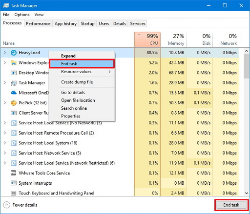 Right-click on the resource-hogging process and choose End task from the context menu