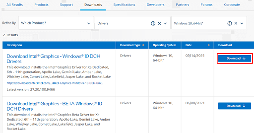 Click on Download to get the installation file of the drivers you need