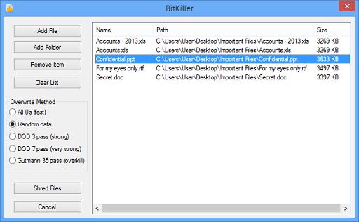 BitKiller- One of the most user friendly file shredder software