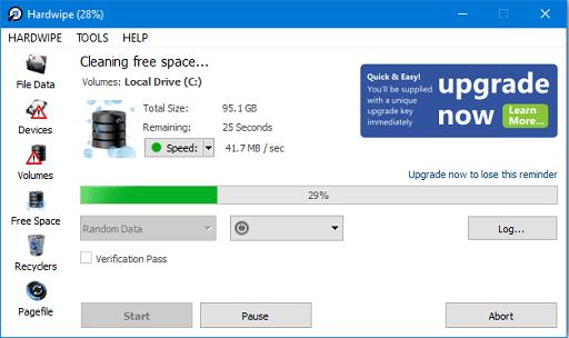 Hardwipe- A portable free data shredding software