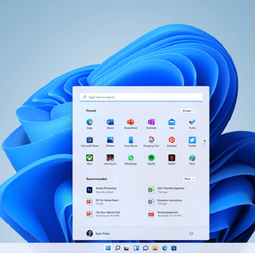 Features of the All-New Windows 11- Central Menu