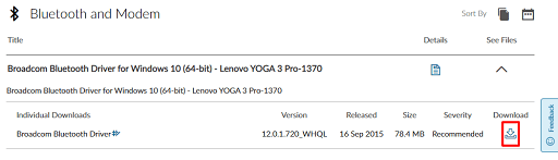 Download BCM20702A0 driver on Lenovo- Click on download icon