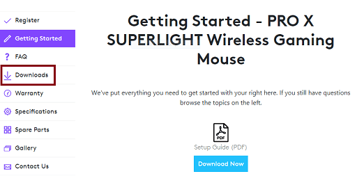 this product page, click on Downloads
