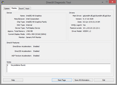 From the Diagnostic Toolbox, click on the Display tab
