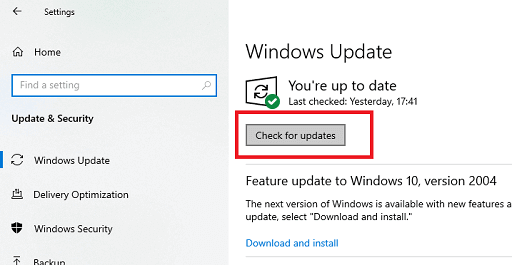 update windows to update the drivers