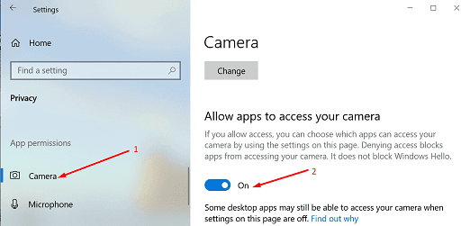fix Zoom camera not working- Allow apps to access your camera