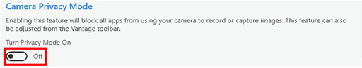 Disable the privacy mode to fix zoom camera not working