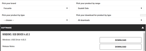 Download Focusrite Scarlett Solo driver from its website - click on download