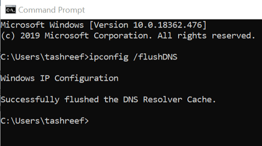 Flush the DNS on your Computer Manually from command prompt