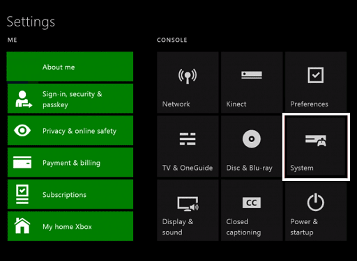 Reset Your Xbox One Settings - system