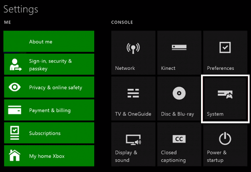 Update the Operating System of Xbox One- click on system
