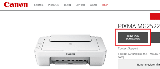 click on drivers and download Canon PIXMA MG2522 Drivers from