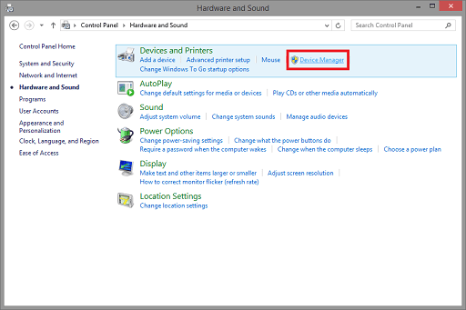 Use the Device Manager to Update - open