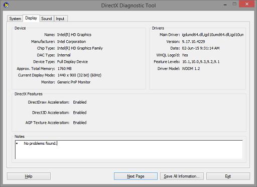 DirectX Diagnostic Tool- GPU info