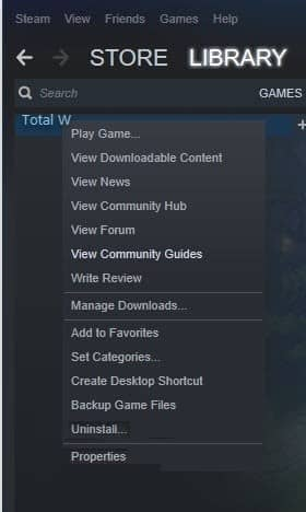 VERIFY INTEGRITY OF GAME FILES Function of Steam- right click total war warhammer