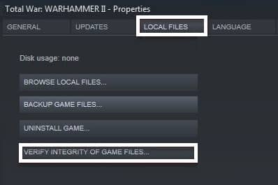 VERIFY INTEGRITY OF GAME FILES Function of Steam
