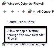 Allow an app or feature through Windows Defender Firewall