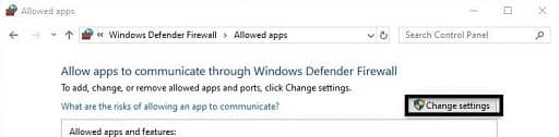 Allow an app or feature through Windows Defender Firewall-change setting