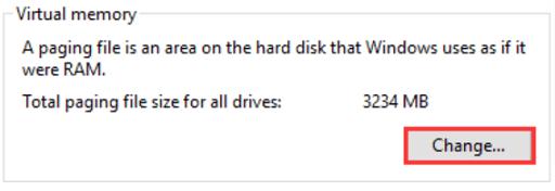 Make the paging file size large- check virtual memory option