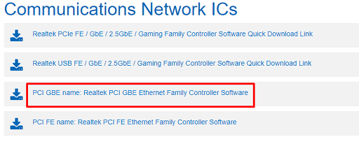 PCI GBE name Realtek PCI GBE Ethernet Family Controller Software