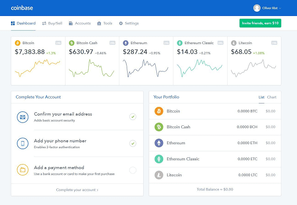 Coinbase- One of the best Bitcoin wallets